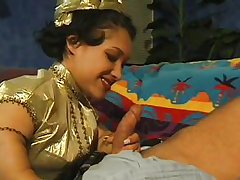 mom midget giving blowjob on bed