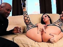 Black man with massive  among legs is relaxing with this white bombshell Jada Stevens.
