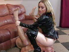 Long haired blonde milf Aiden Starr in black mistress outfit